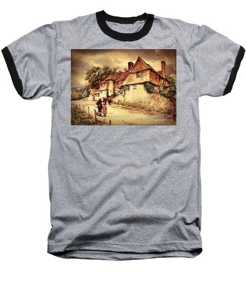 Baseball T-Shirt featuring the digital art Hazelmere Cottage - English Lake District by Lianne Schneider
