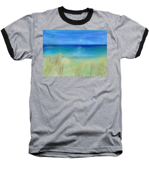 Hazy Beach Baseball T-Shirt by Regina Valluzzi