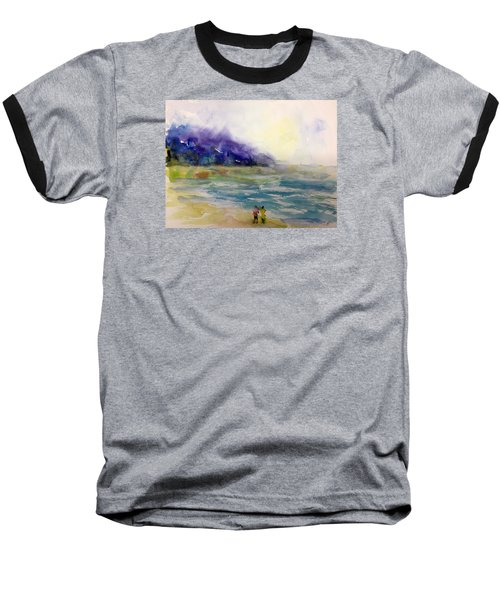 Hazy Beach Scene Baseball T-Shirt