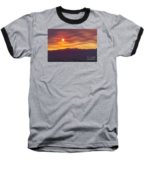 Hazy Las Vegas Sunset Baseball T-Shirt by Aloha Art