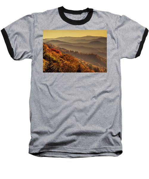 Hazy Sunny Layers In The Smoky Mountains Baseball T-Shirt by Teri Virbickis