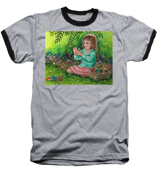 Baseball T-Shirt featuring the painting He Loves Me---he Loves Me Not. by Val Stokes