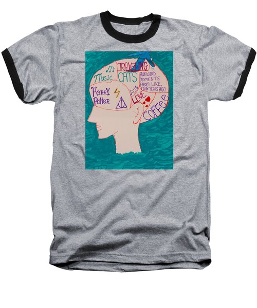 Baseball T-Shirt featuring the painting Head In Clouds by Artists With Autism Inc
