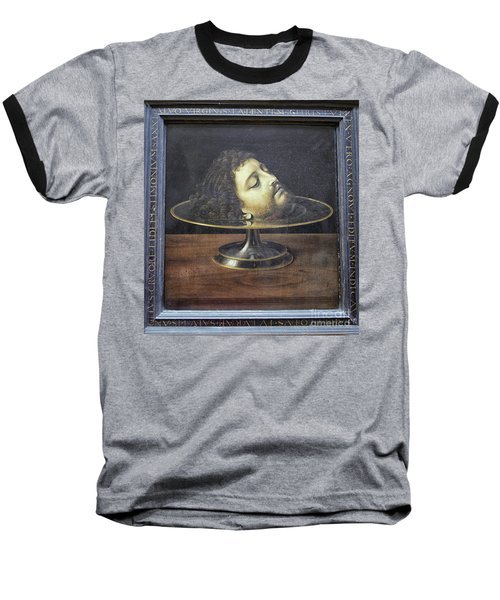 Baseball T-Shirt featuring the photograph Head Of John The Baptist, 1507, With Frame And Inscription -- By by Patricia Hofmeester