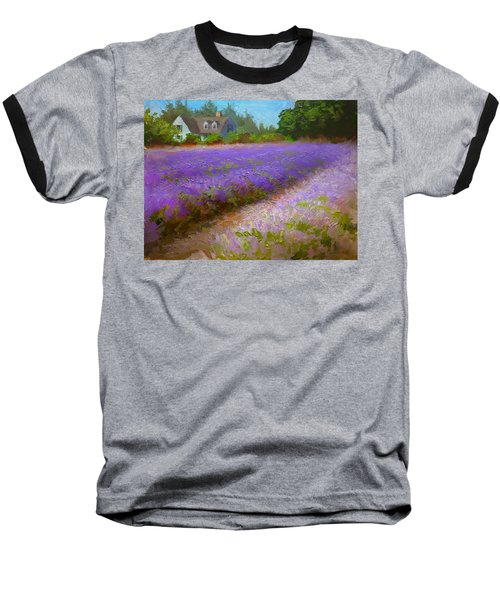 Impressionistic Lavender Field Landscape Plein Air Painting Baseball T-Shirt by Karen Whitworth