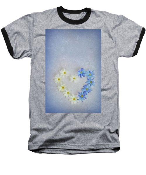 Heart And Flowers Baseball T-Shirt
