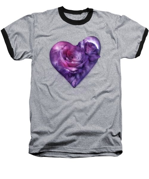 Heart Of A Rose - Burgundy Purple Baseball T-Shirt
