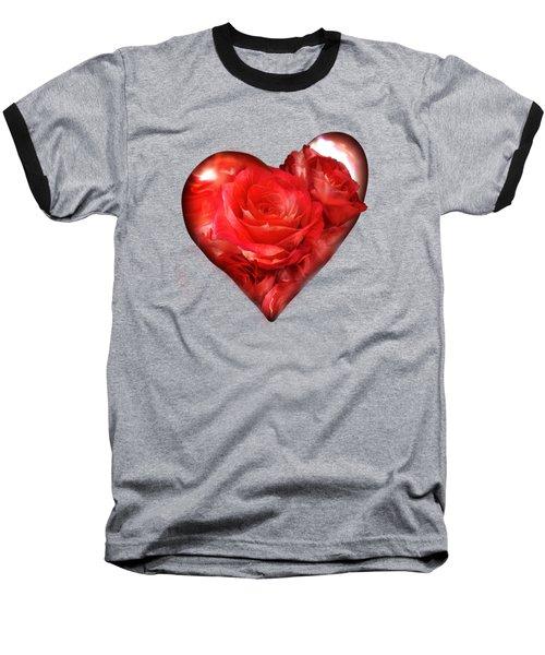Heart Of A Rose - Red Baseball T-Shirt