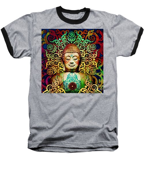Heart Of Transcendence - Colorful Tribal Buddha Baseball T-Shirt by Christopher Beikmann
