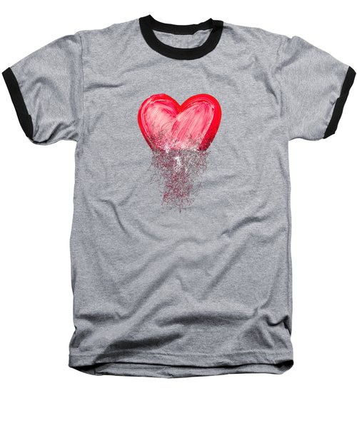 Baseball T-Shirt featuring the digital art Heart Painted From Tangle Of Scribbles by Michal Boubin