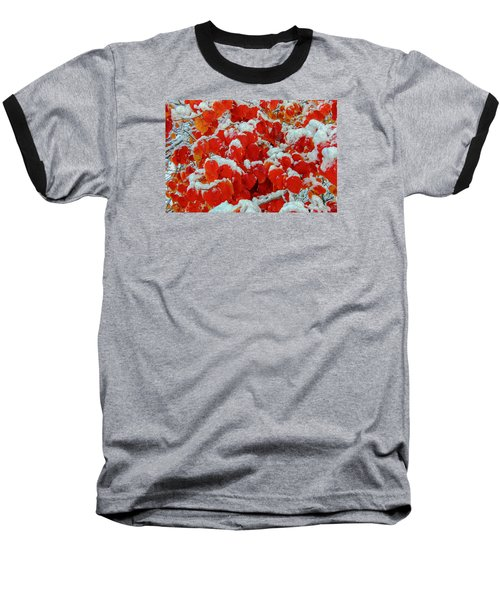 Heart Shape Leaves Covered By Snow Baseball T-Shirt