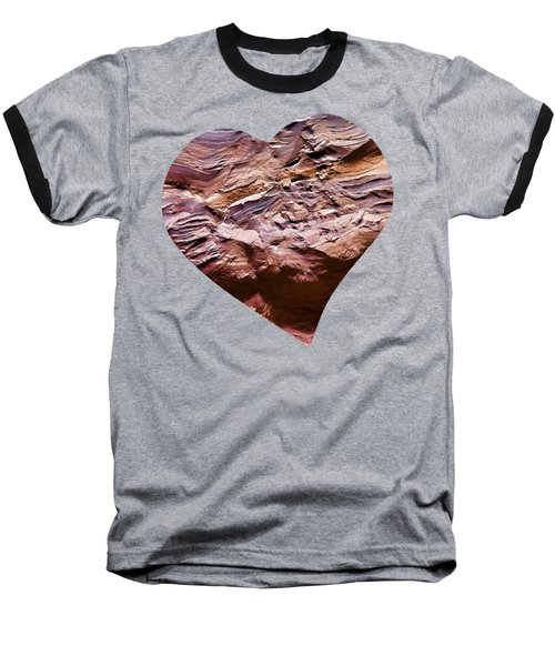 Heart Shape Stone Art Baseball T-Shirt