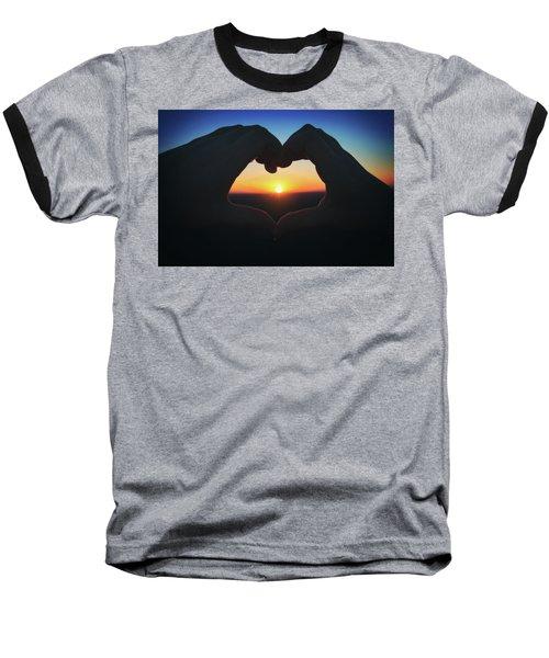 Heart Shaped Hand Silhouette - Sunset At Lapham Peak - Wisconsin Baseball T-Shirt by Jennifer Rondinelli Reilly - Fine Art Photography