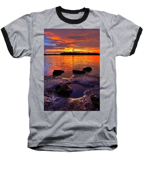 Heart Shaped Pool At Sunset Over Lake Worth Lagoon On Singer Island Florida Baseball T-Shirt
