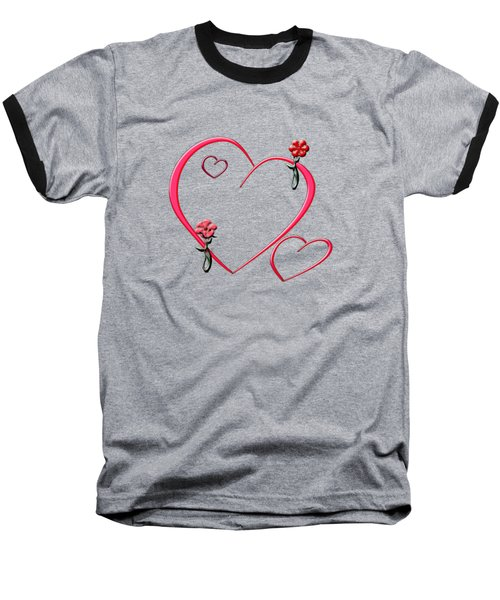 Hearts And Flowers Baseball T-Shirt