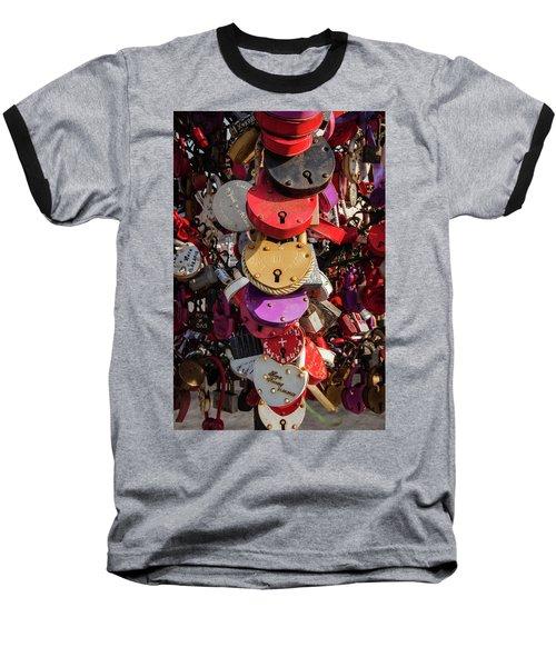Hearts Locked In Love Baseball T-Shirt