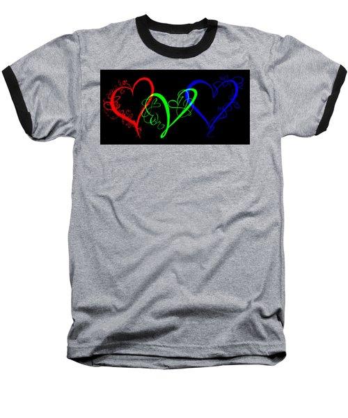 Hearts On Black Baseball T-Shirt