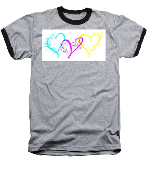 Hearts On White Baseball T-Shirt by Swank Photography