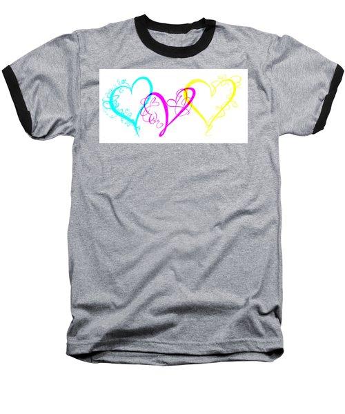 Hearts On White Baseball T-Shirt