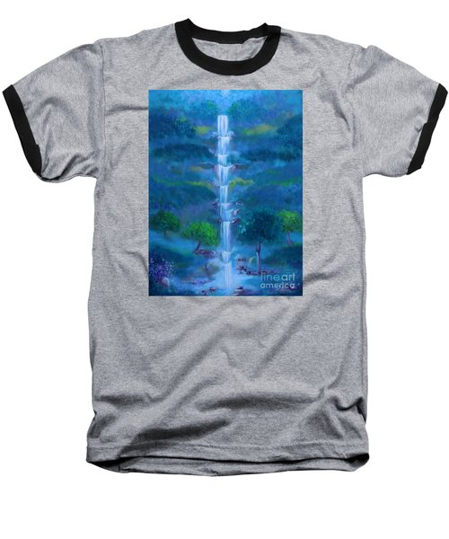 Baseball T-Shirt featuring the painting Heavenly Falls by Stacey Zimmerman