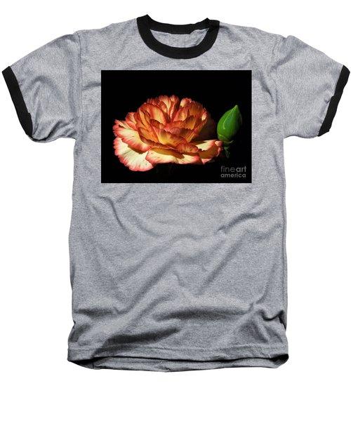 Heavenly Outlined Carnation Flower Baseball T-Shirt