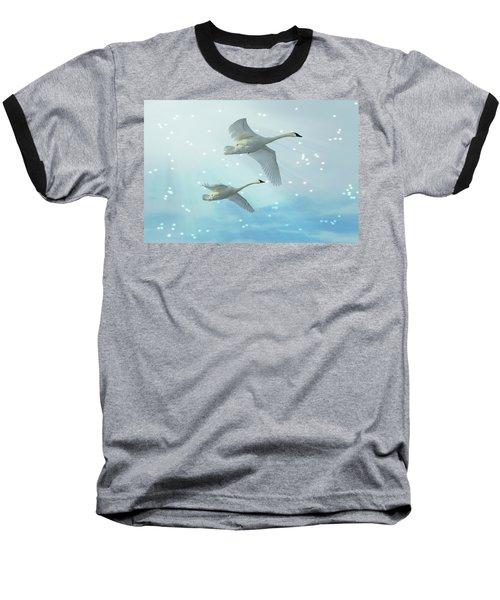 Heavenly Swan Flight Baseball T-Shirt
