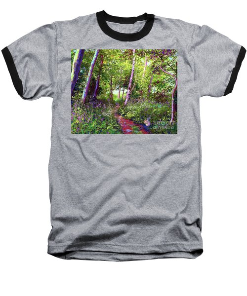 Baseball T-Shirt featuring the painting Heavenly Walk Among Birch And Aspen by Jane Small