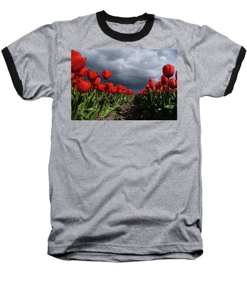 Heavy Clouds Over Red Tulips Baseball T-Shirt by Mihaela Pater