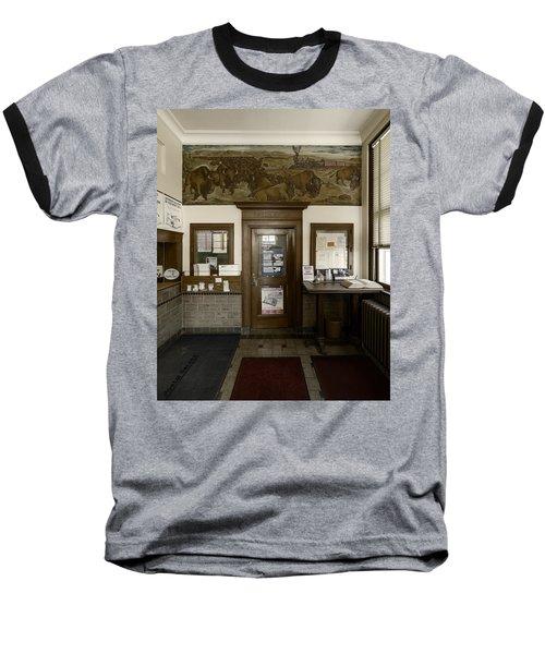 Hebron Nebraska Post Office Mural Baseball T-Shirt