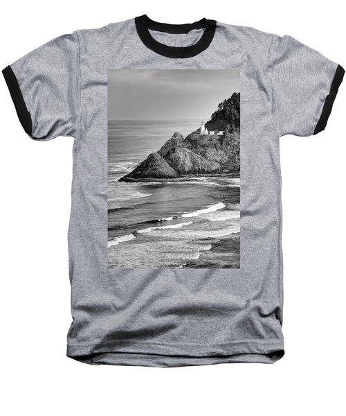 Heceta Head Light In Black And White Baseball T-Shirt