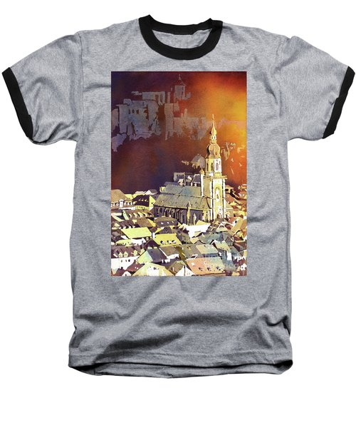 Baseball T-Shirt featuring the painting Heidelberg Sunset- Germany by Ryan Fox