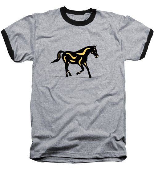 Heinrich - Pop Art Horse - Black, Primrose Yellow, Hazelnut Baseball T-Shirt