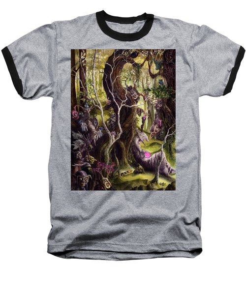 Baseball T-Shirt featuring the painting Heist Of The Wizard's Staff by Curtiss Shaffer