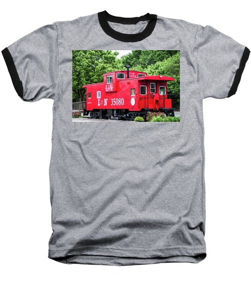 Baseball T-Shirt featuring the photograph Helena Red Caboose by Parker Cunningham