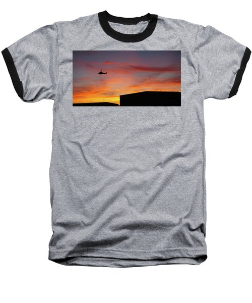 Baseball T-Shirt featuring the photograph Helicopter And The Sunset by Angi Parks