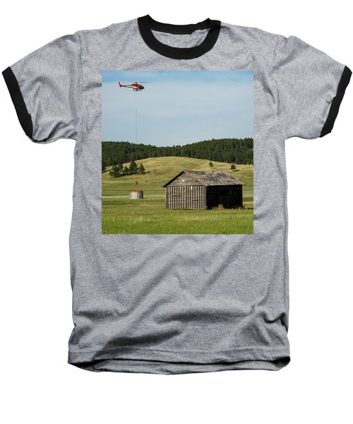 Helicopter Dips Water At Heliwell Baseball T-Shirt by Bill Gabbert