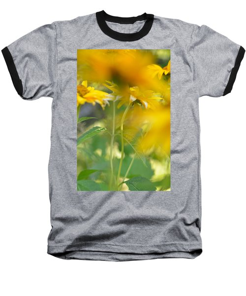 Heliopsis Blur Baseball T-Shirt by Janet Rockburn