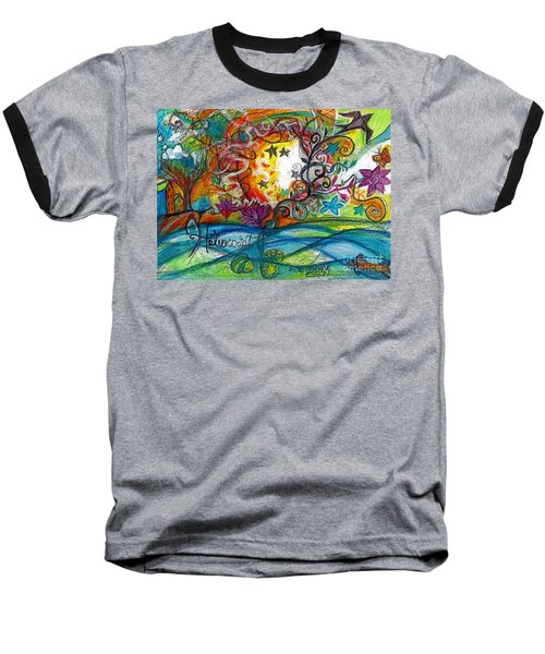 Baseball T-Shirt featuring the painting Helios And Ophelia Posterized by Genevieve Esson