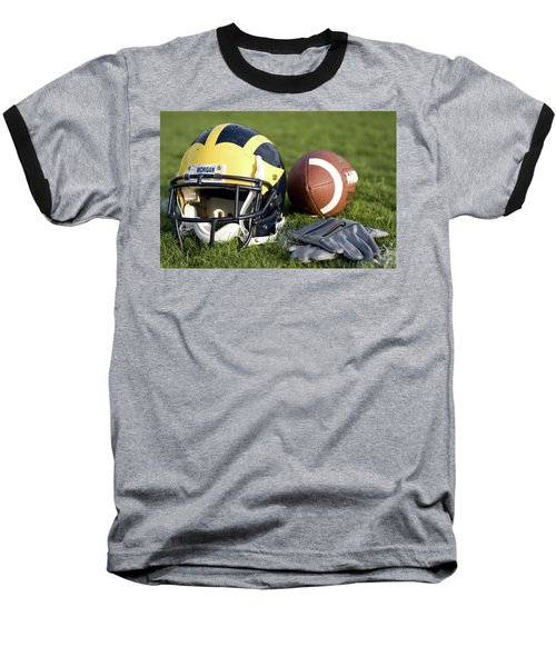 Helmet On The Field With Football And Gloves Baseball T-Shirt
