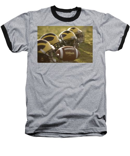 Helmets And A Football On The Field At Dawn Baseball T-Shirt