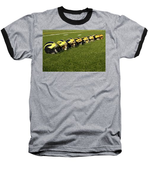 Helmets Of Different Eras On The Field Baseball T-Shirt
