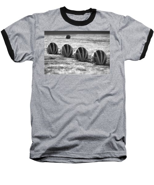 Helmets On Dew-covered Field At Dawn Black And White Baseball T-Shirt