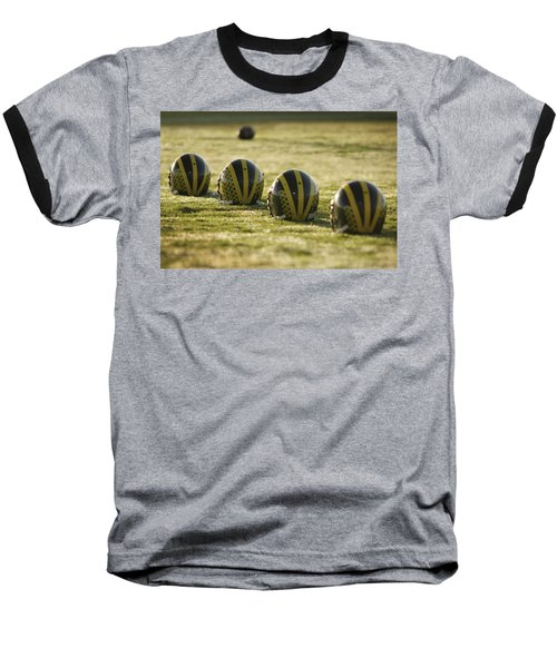 Helmets On Dew-covered Field At Dawn Baseball T-Shirt