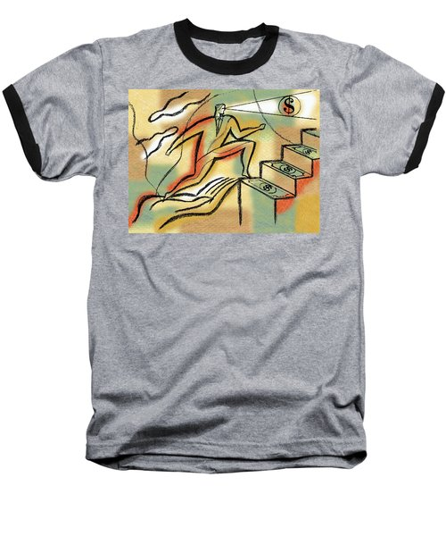 Baseball T-Shirt featuring the painting Helping Hand And Money by Leon Zernitsky