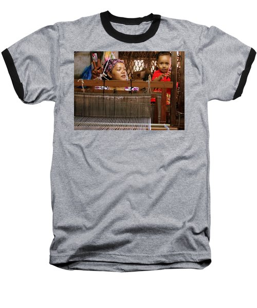 Helping Mom With The Weaving Baseball T-Shirt by Laurel Talabere