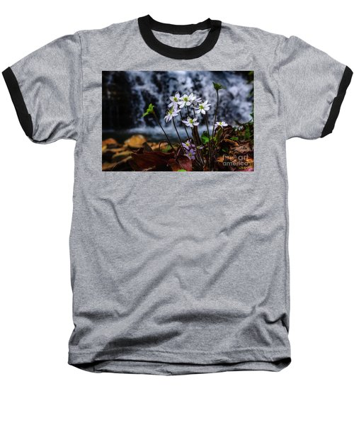 Baseball T-Shirt featuring the photograph Hepatica And Waterfall by Thomas R Fletcher