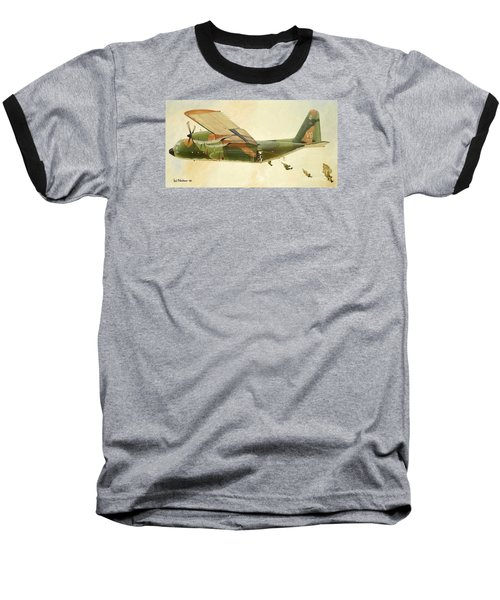 Baseball T-Shirt featuring the painting Hercules Paratroop Drop by Paul Clinkunbroomer