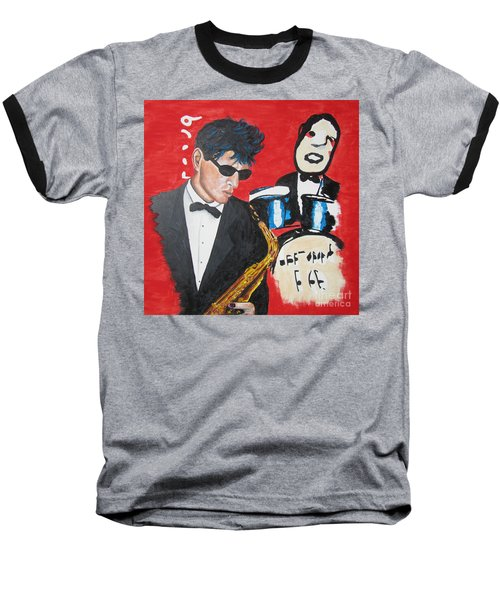 Baseball T-Shirt featuring the painting Herman Brood Jamming With His Art by Jeepee Aero