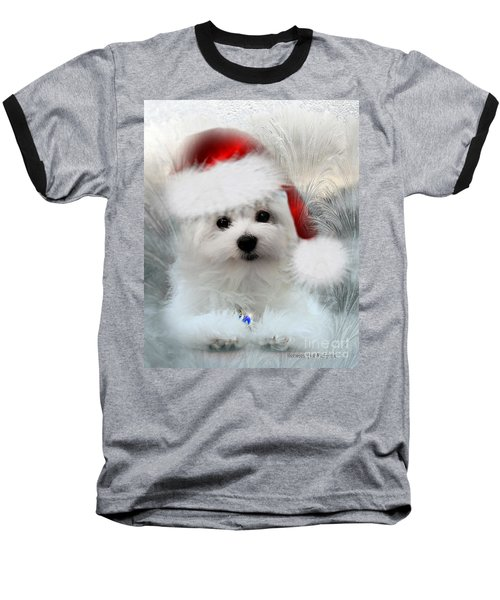 Hermes The Maltese At Christmas Baseball T-Shirt