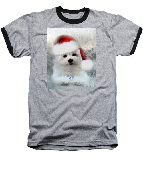 Hermes The Maltese At Christmas Baseball T-Shirt